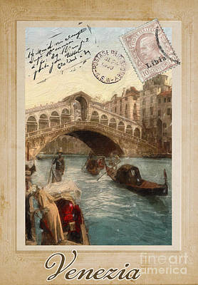 European Vacation Postcard Venice Original by Mindy Sommers