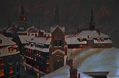 European Winter's Night Art Print by Ken Figurski