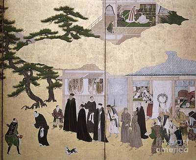 Painting - Europeans In Japan, C1600 by Granger