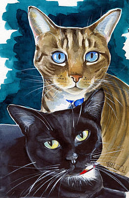 Painting - Eva And Ellie - Cat Painting by Dora Hathazi Mendes