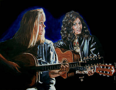 Art Print featuring the painting Eva Cassidy And Katie Melua by Bryan Bustard