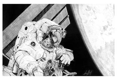 Clay Drawing - Astronaut Clay Anderson Eva On Iss Drawing by James Schultz
