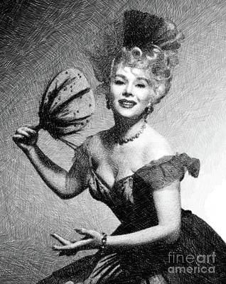 Musicians Drawings - Eva Gabor, Vintage Actress by JS by Esoterica Art Agency