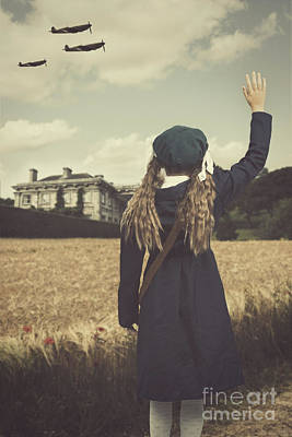 Old House Photograph - Evacuee Girl Waving by Amanda Elwell
