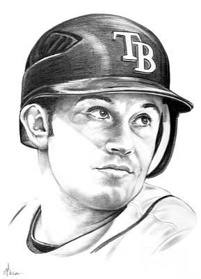 Baseball Portraits Drawing - Evan Longoria by Murphy Elliott