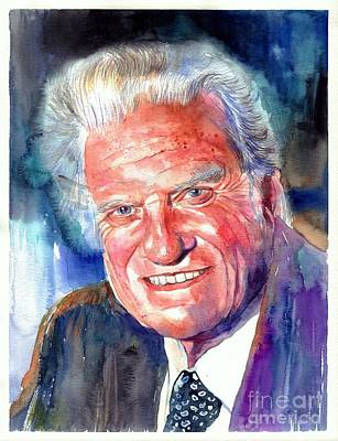 Ties Painting - Evangelist Billy Graham by Suzann's Art