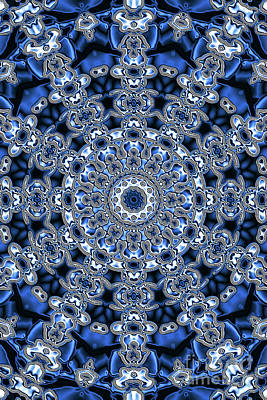 Digital Art - Evans Cherry Blue Star Kaleidoscope by Donna L Munro