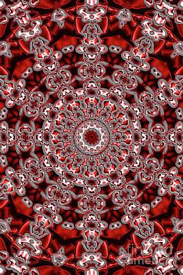 Digital Art - Evans Cherry Star Kaleidoscope by Donna L Munro
