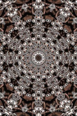 Digital Art - Evans Cherry Star Sepia Kaleidoscope by Donna L Munro