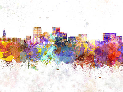 Evansville Skyline In Watercolor Background Art Print by Pablo Romero
