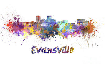 Evansville Skyline In Watercolor  Print by Pablo Romero