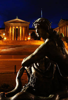 Entrance Memorial Photograph - Eve In The Garden Of Art - Philadelphia Museum Of Art - Washington Memorial Fountain  by Lee Dos Santos