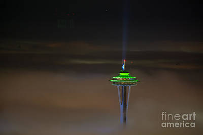 Eve Of The Superbowl Space Needle Print by Mike Reid