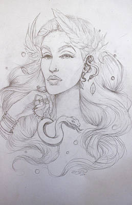 Biblical Interpretation Drawing - Eve Sketch by Erica Elizabeth