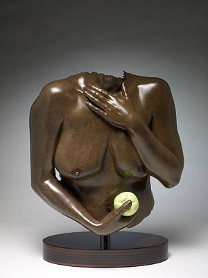 Eve With Green Apple Art Print by Wayne Berger