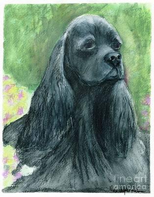 Black Cocker Spaniel Painting - Evelyn by Debra Lampert-Rudman