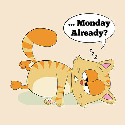 Japanese Puppy Digital Art - Even Cat Hates Monday by Catifornia Shop