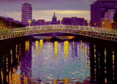 Irish Painting - Evening - Ha' Penny Bridge- Dublin by John  Nolan