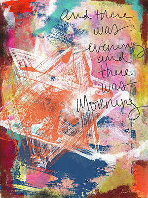 Jewish Art Mixed Media - Evening And Morning- Art By Linda Woods by Linda Woods