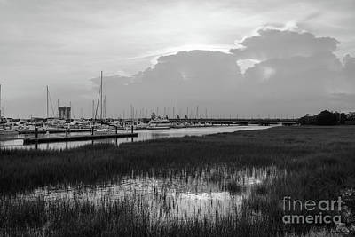 Photograph - Evening At Charleston Harbor Grayscale by Jennifer White