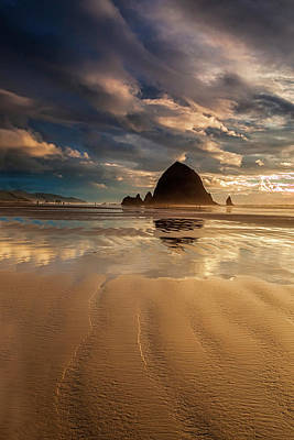 Photograph - Evening At Haystack Rock by Andrew Soundarajan