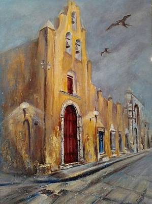 Wall Art - Painting - Evening At Iglesia De San Roque Church by Paula Noblitt