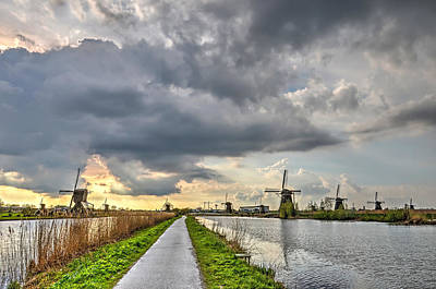 Photograph - Evening At Kinderdijk by Frans Blok