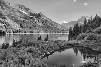 Photograph - Evening At Lake Josephine Black And White by Adam Jewell