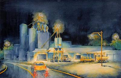 Small Town Painting - Evening At Lindner Feed And Mill by Virgil Carter