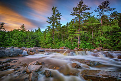 White Mountain National Forest Photograph - Evening At Lower Falls by Rick Berk