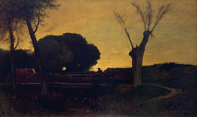 Hudson River Painting - Evening At Medfield, Massachusetts by George Inness