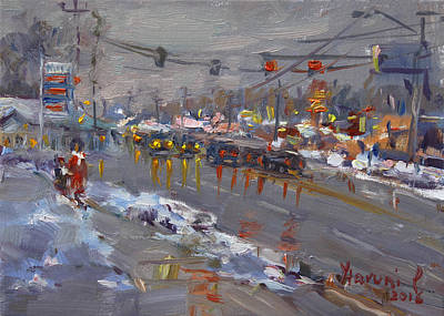 Ladies Painting - Evening At Niagara Falls Blvd by Ylli Haruni