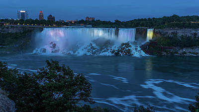 Photograph - Evening At Niagara Falls, New York View by Brenda Jacobs