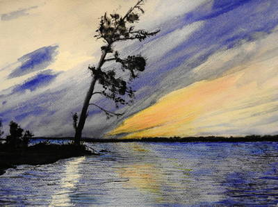 Windblown Mixed Media - Evening At Petrie Island by Betty-Anne McDonald