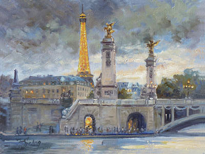Sunset Painting - Evening At Pont Du Alexandre, Paris by Irek Szelag