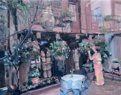 Hanging Baskets Painting - Evening At Taverna Cretakou by Donna Tuten