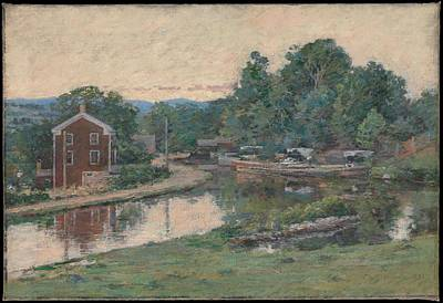 Thomas Kinkade - Evening at the Lock, Napanoch, New York , Theodore Robinson 1852-1896 by Theodore Robinson