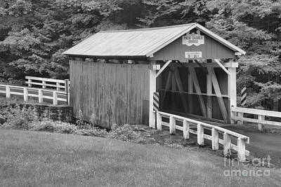 Photograph - Evening At The Packsaddle Covered Bridge Black And White by Adam Jewell