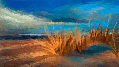 Mixed Media - Evening Beach Dunes by Anthony Fishburne
