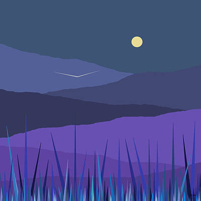 Moonshine Painting - Evening Blue  by Val Arie