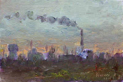 Chimney Painting - Evening By Industrial Site by Ylli Haruni