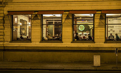 Evening Cafe In Prague Art Print by Marek Boguszak