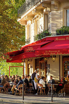 Photograph - Evening Cafe - Paris by Brian Jannsen