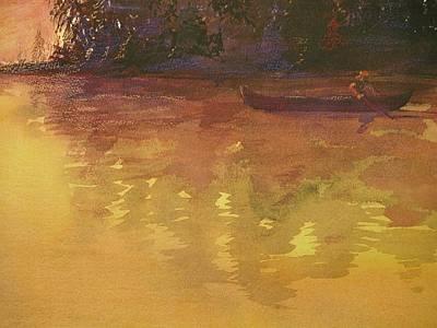 Evening Canoe Ride Art Print by Walt Maes
