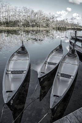 Photograph - Evening Canoes At The Dock In Soft Silvers by Debra and Dave Vanderlaan