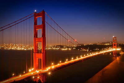 Traffic Light Photograph - Evening Cityscape Of Golden Gate Bridge  by Melanie Viola
