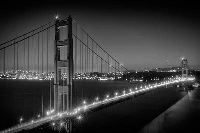 Traffic Light Photograph - Evening Cityscape Of Golden Gate Bridge Monochrome by Melanie Viola