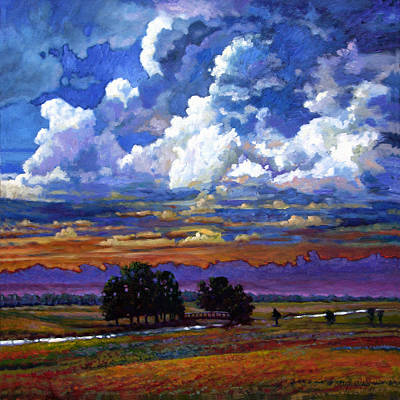 Prairie Sunset Wall Art - Painting - Evening Clouds Over The Prairie by John Lautermilch