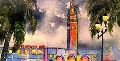 Painting - Evening Comes Ferry Building by Esther Woods