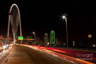 Evening Commute On The Margaret Hunt Hill Bridge In Downtown Dallas Art Print